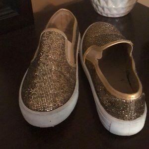 Gold slide sneakers
